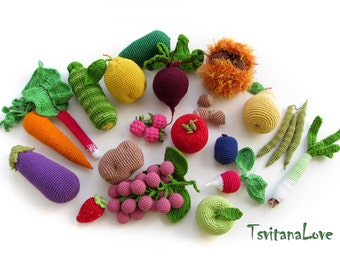 Kitchen play set (26 pcs) - Toys Fruit, vegetables - Seasons - Crochet Play food, Eco-friendly, Pretend food, role play - Made to order