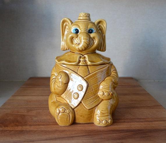 Vintage ceramic elephant in suit cookie jar japan shawnee - Vintage elephant cookie jar ...