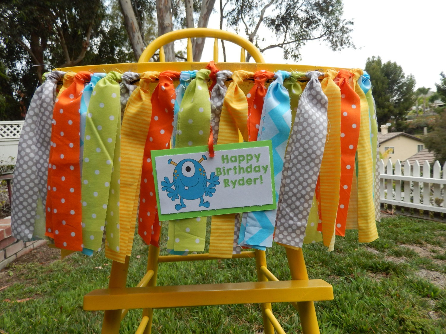 Little monster theme fabric high chair banner photo for Monster themed fabric