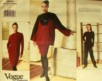 "Coat, Dress, Top & Pants by Geoffrey Beene  -1990's - Vogue Pattern 1654   Uncut   Size 10  Bust 32.5 """