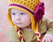 Crochet Hat, Crochet Mustard, Light yellow, and Raspberry Textured Earflap Hat with Flower and Braids, Teen/Adult Size, Made to Order