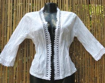 White cotton jacket,  Kebaya style, Summer jacket, White Cotton top, Handmade, Broderie anglaise, White top, Black cotton acket, Black lace.