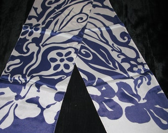 Oblong Scarf, Op Art Scarf Vintage Scarves Blue Long Scarf Headscarf