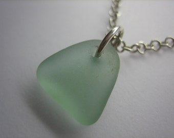 GENUINE SEA GLASS Necklace Sterling Silver Chain Pale Aqua Blue Real Surf Tumbled Natural Greek Beach Seaglass Pendant Jewelry Quality N458i