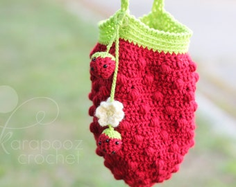 Berrylicious Crochet Bag PDF pattern plus crochet berries key chain pattern