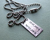 Personalized Latitude Longitude Necklace. Mens ID Tag Necklace. Mens Gift. Hammered Pendant. Male Jewelry / Mens Pendants