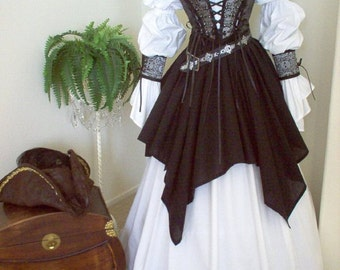Complete Renaissance Pirate Wedding Costume: Bodice Shirt Skirt Set Wrist Cuffs and Lacing. Different fabrics for the bodice.