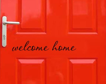 WELCOME HOME vinyl wall decal sticker front back door cute inspirational art Free Shipping