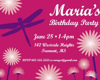 Customized Dragonfly Birthday Invitation Digital File