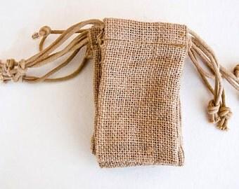 60 Small Burlap Wedding Favor Bags --Quantity 60 -- 3x5 Burlap Bags