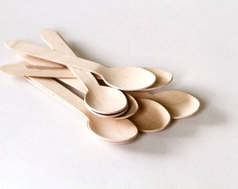 50 Disposable Wooden Spoons – Eco-Friendly Spoons for Ice Cream