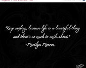 "ON SALE Decor - ""Life is a Beautiful Thing"" - Photograph, Marilyn Monroe, Room Decor, Black and White, fPOE, Home Decor, Quotes, Wall Quotes"