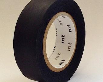 "Japanese Designer Masking Tape/Washi Tape Solids ""BLACK"" by ""mt"" Japan   10 meters"