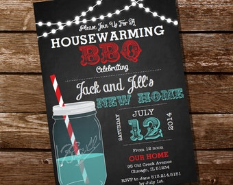 Chalkboard Housewarming BBQ Invitation - Housewarming Party - Instant Download and Editable File - Personalize at home with Adobe Reader