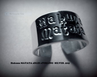 Hakuna Matata ring  stamped in solid sterling silver not plated                             six
