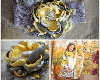 Yellow and Gray Headband M2M Persnickety's October Sky Line Fall 2014 by Exquisite Little Lady