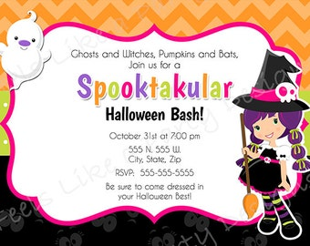 Custom Halloween Party Invite with Witch and Ghost