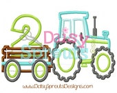 Tractor Pulling Number 2 - Machine Applique - Instant Download