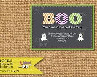 Boo Ghost Halloween Invitation (5x7, DIY, Printable)