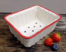 Handmade ceramic berry punnet, ceramic colander, kitchen ceramics