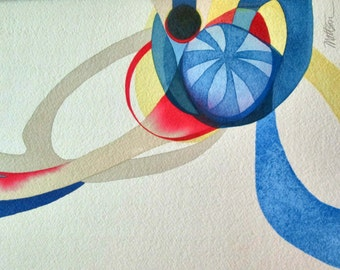 Primary Motion -           Original One of a Kind Watercolor