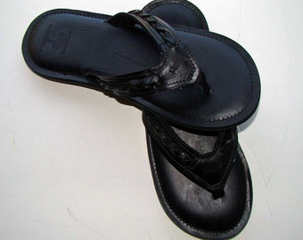Cuna Leather Flip Flops-Men's-All Black