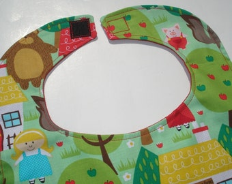 SALE Into the Woods Baby Bib: The Three Bears, Three Little Pigs.