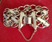 Vintage Disco Diva Slinky Gold Cuff Chain Bracelet