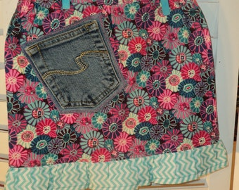 PINK and TEAL Floral Ruffle skirt , size 3/4 , with cute RECYCLED blue jean pocket