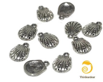 10 Seashell Charms for Jewelry Making, Jewelry Design, Scrapbooking