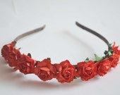 Beautiful Medium Red Rose Headband for wedding and daily wearing