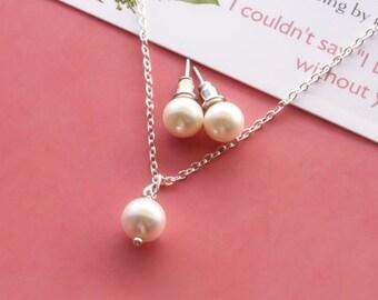 Simple pearl jewelry set, one pearl necklace, ear posts, pearl stud earrings,