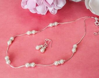 Wedding Jewelry Set, Bridal Pearl Jewelry Set. Earrings Bracelet Necklace Set. Bridesmaids Wedding Jewellery Set. Pearl