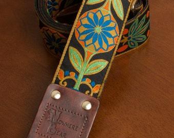 Orange/Green/Blue Floral VIntage-styled Guitar Strap