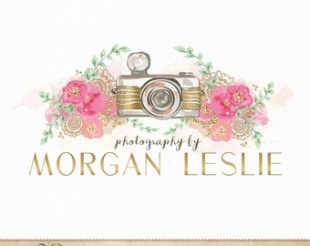 Photography Logo Watercolor and gold foil Camera & Flowers Design for Photographers