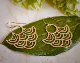 Large Gold Statement Earrings - Peacock Earrings - Fan Earrings - Big Light Earrings
