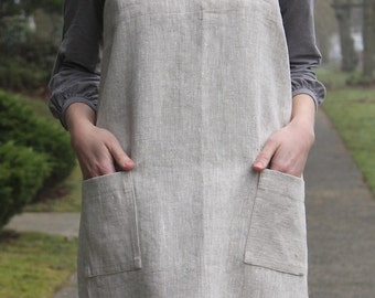 OATMEAL Good Life Apron - Adult - 100% natural linen - Made to Order