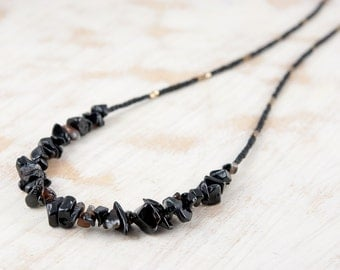 Black and Gold / Bronze Mixed Bead Necklace, Semi Precious Stones and Seed Beads, Black Onyx