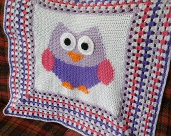 Crochet Owl Baby Afghan Granny Square Border Crochet Baby Blanket Crochet Throw nursery decor