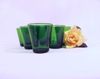 Vereco glasses, set of 6, green glass