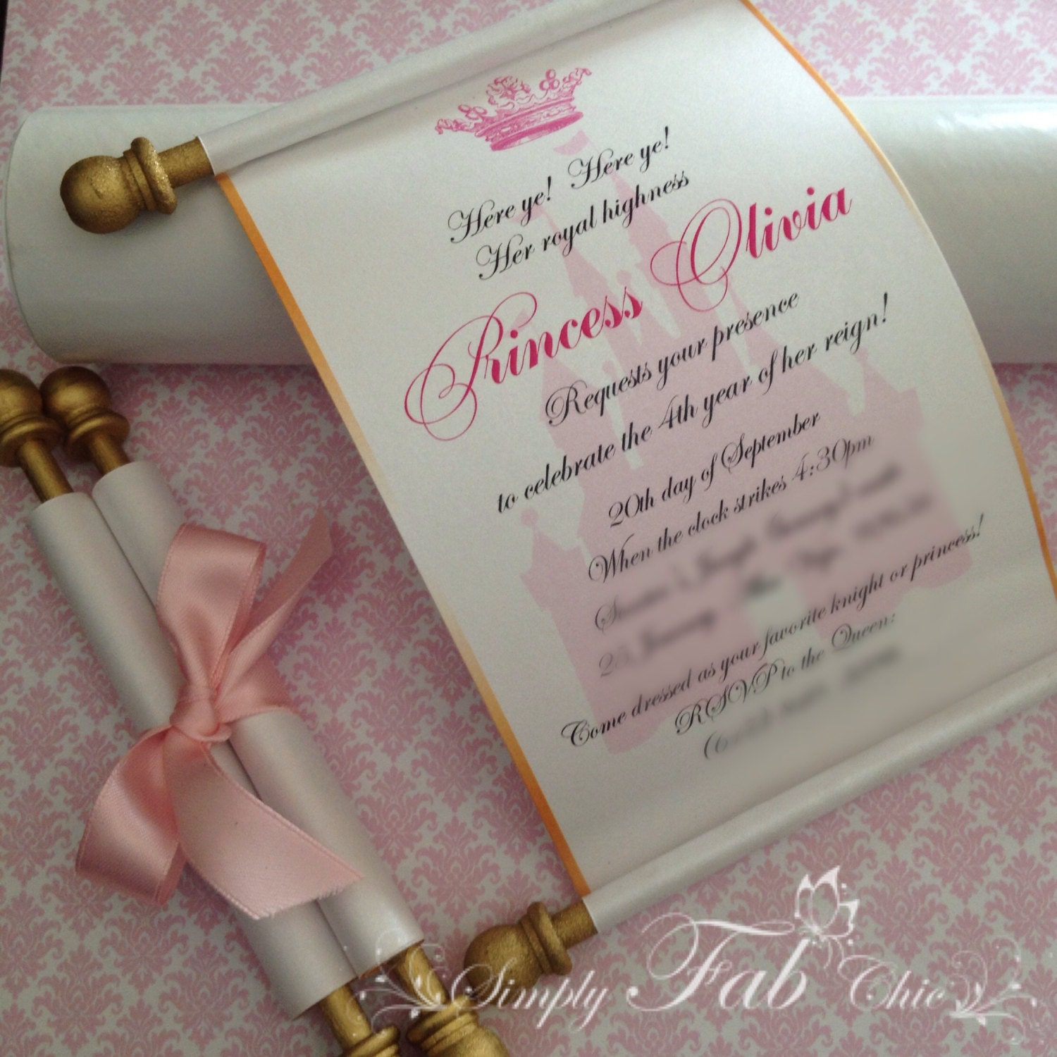 Royal Disney Princess Scroll Invitation Birthday Wedding