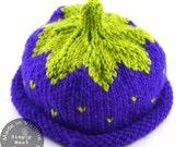 Baby Hat Purple Knit - Newborn Hat Purple Knit - Knitted Newborn Blackberry Hat  - Berry Cute Hat - Knit in Victoria, BC Canada