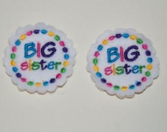 Set of 2 Big Sister Feltie Felt Embellishments