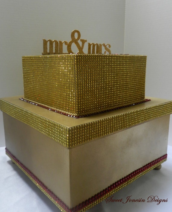 Items similar to Extra Large Gold Red Wedding Card Box Bling – Large Wedding Card Box