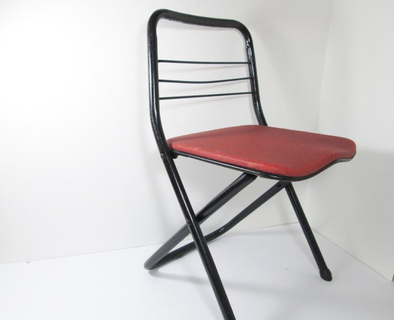 Childs Folding Chair Metal Cosco Red by GirlPickers on Etsy