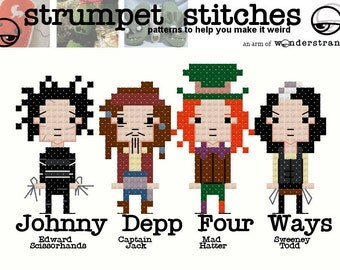 Johnny Depp Characters: TinyGuy Cross Stitch Pattern