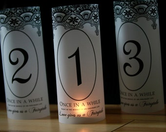 Fairytale Wedding luminaries , Lace Fairytale Table Numbers, Fairytale Luminaries, Fairytale table decor, Fairytale wedding decor- Set of 20