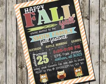 Fall Festival Invitation | Happy Fall Yall Invitation | Owl Fall Birthday Invitation | Custom Digital Invitation