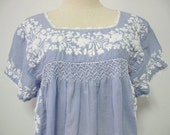 Embroidered Mexican Blouse Cotton Short Sleeve In Blue, Boho Blouse
