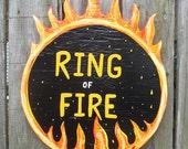 RESERVED for STACEY Custom Ring of Fire Johnny Cash Lyrics....Primitive Outsider Folk Art by ROXANEJ